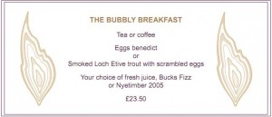 Bubbly Menu at Roast