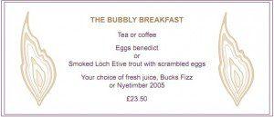 Bubbly Menu at Roast
