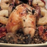 Partridge with puy lentils and mushrooms