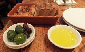 bread and olives at Bocca di Lupo