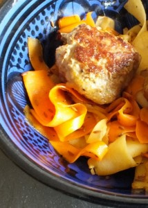 Spicy Lamb Meatballs with Carrot and Parsnip tagliatelle