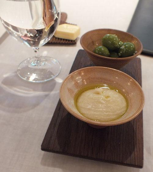 olives and salt cod at Pollen Street Social
