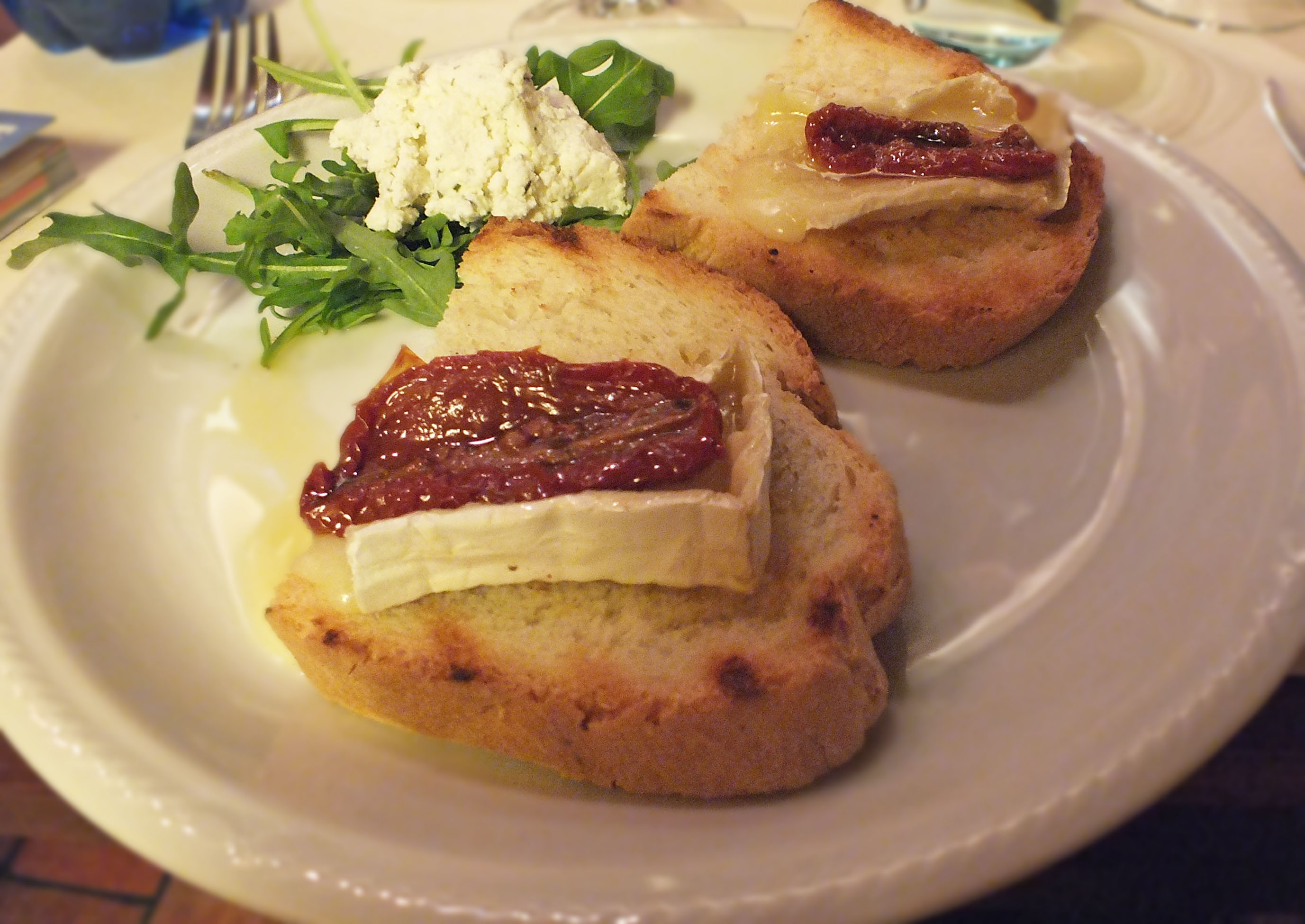 Brie and sundried tomato with ricotta. This was just melting brie ...