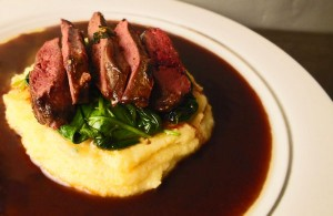 Thyme infused Pigeon Breast with Medlar & Red Wine