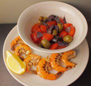Tomato Salad with Garlic Prawns