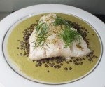 Cod with Sorrel and Lentils