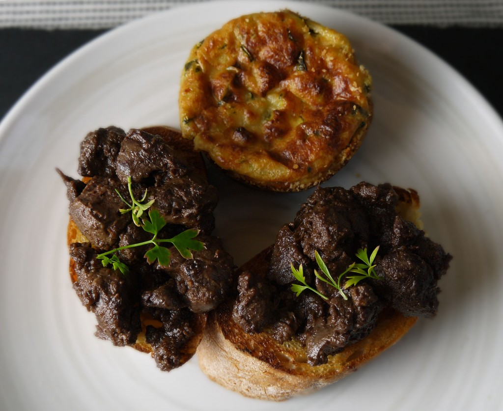 courgette flan with chicken livers