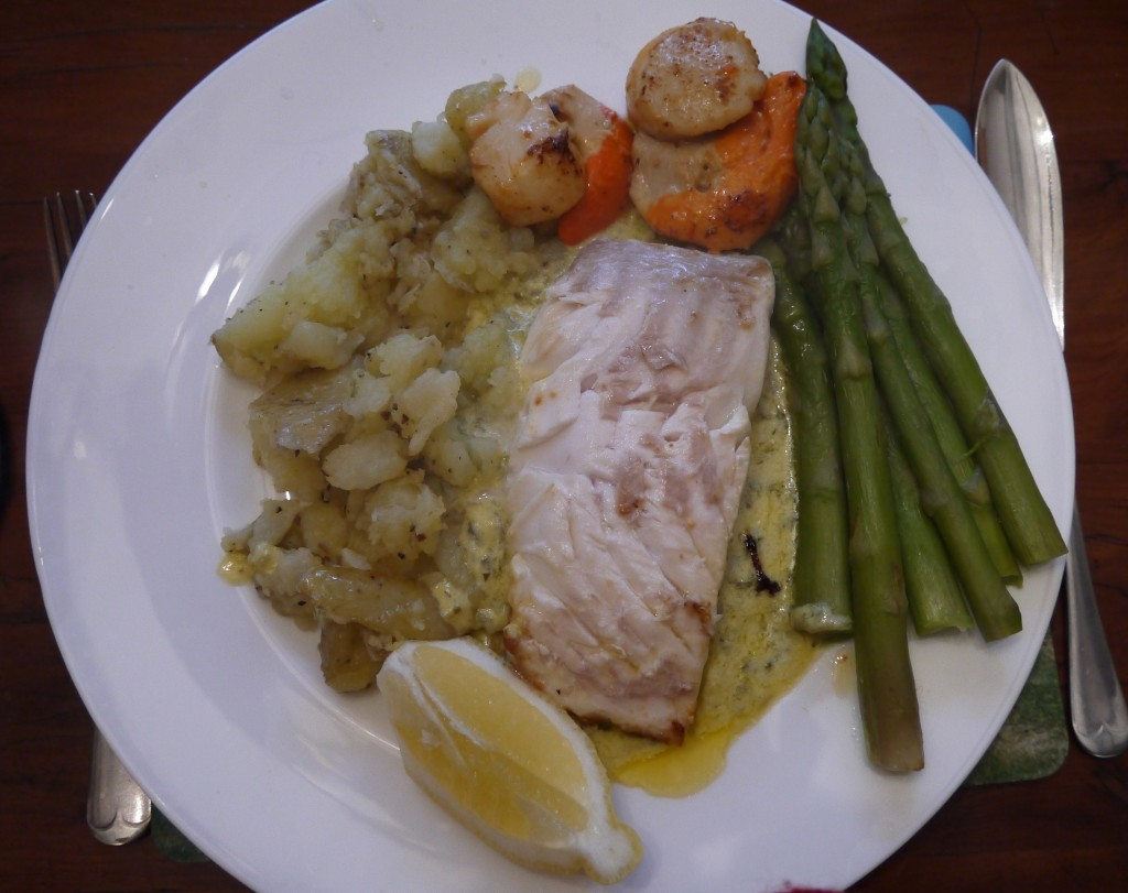 halibut with scallops