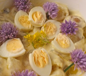Potato and Chive Flower Salad with Quail Eggs