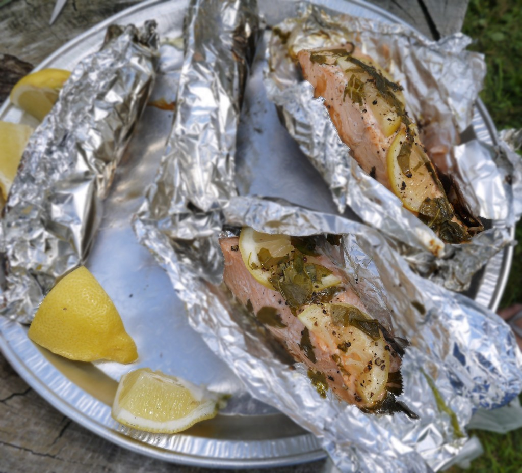 salmon parcels barbequed