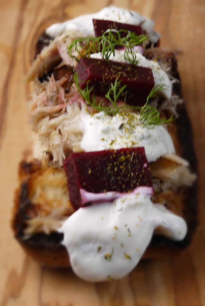 smoked peppered mackerel with dill and beetroot