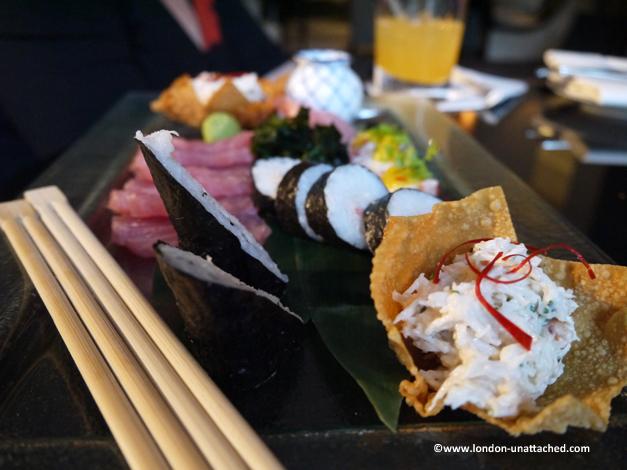 intercontinental hotel gin and jazz sushi platter