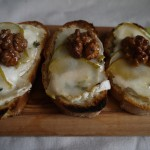 Goats Cheese and Pear Bruschetta with Honeyed Walnuts