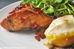 Balsamic Glazed Salmon with Peaches and Goats Cheese