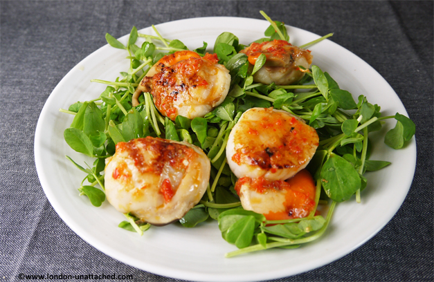 seared scallops with lime and chilli butter