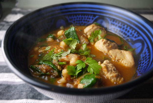 5-2 diet chicken and aubergine stew with spices of Lebanon