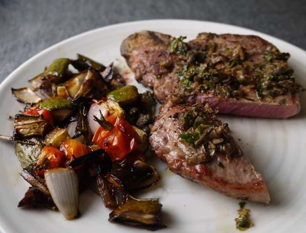 rose veal steak and roasted veg