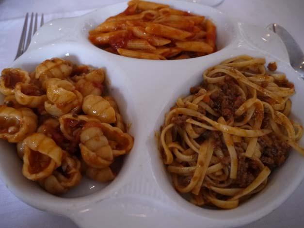 trio of pasta dishes La Famiglia
