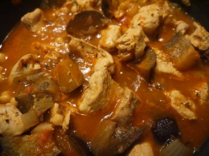 chicken and aubergine stew - cooking again
