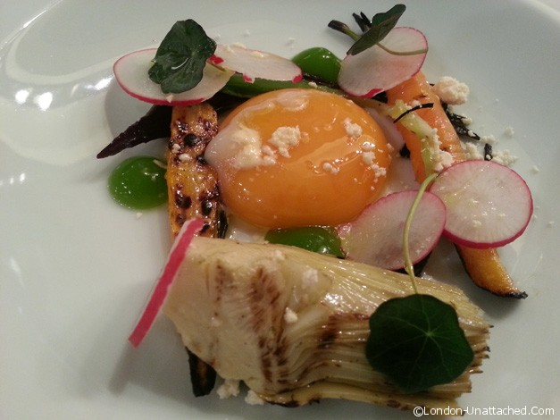 hahn valley smoked egg yolk and autumn vegetables salad