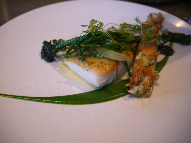 halibut with sea vegetables and razor clam