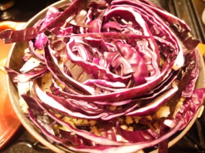 spiced red cabbage with apple and onion 2