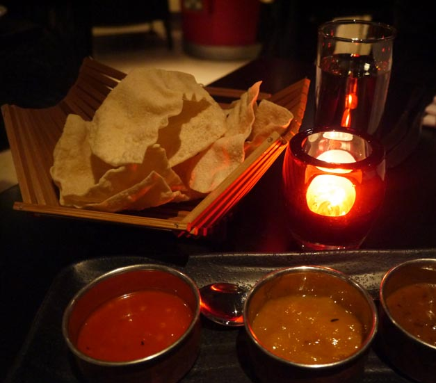 Carom Indian Soho London poppadum