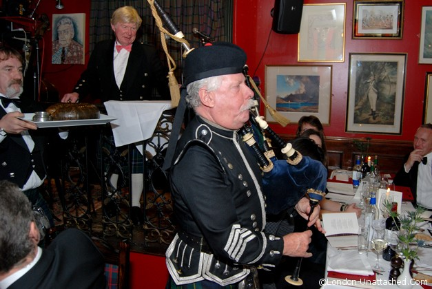 Burns Night piping the haggis at boisdale