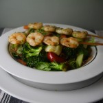 5-2 diet vegetable and shirataki noodle stirfry with unearthed prawns