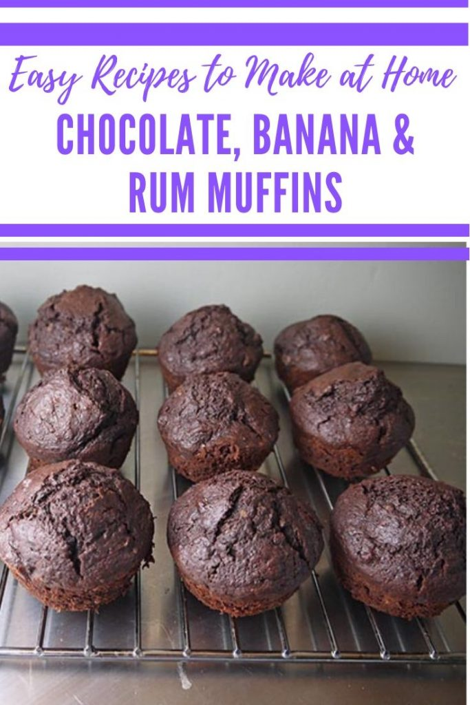 Chocolate and Banana Muffins with Rum