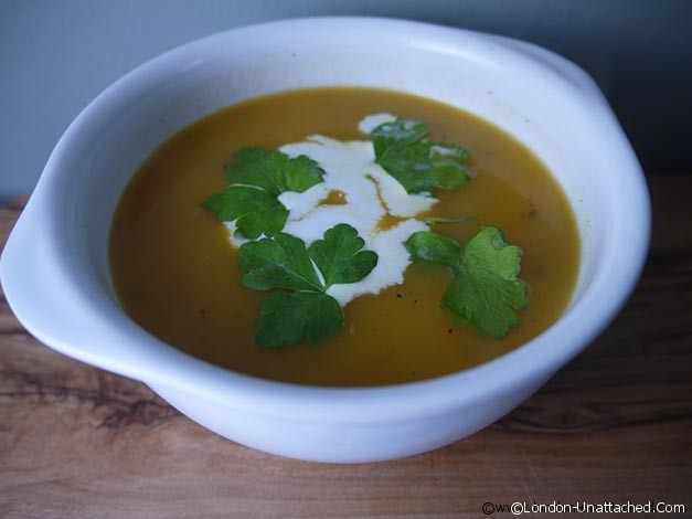 5:2 Diet recipes:  Carrot and Cumin Soup with Coconut Milk