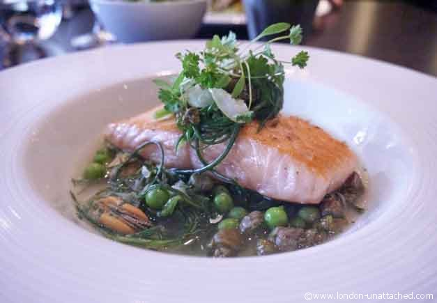 Cured Salmon, Monks Beard, Pea, Caper and Mussel Broth - Dinner, Knightsbridge