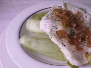 Low Calorie Haddock with Chicory and Pancetta for 5-2 Diet