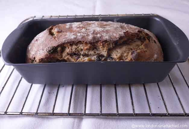 fruited spelt loaf in mermaid tin
