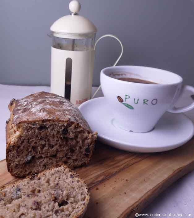 fruited spelt loaf with coffee