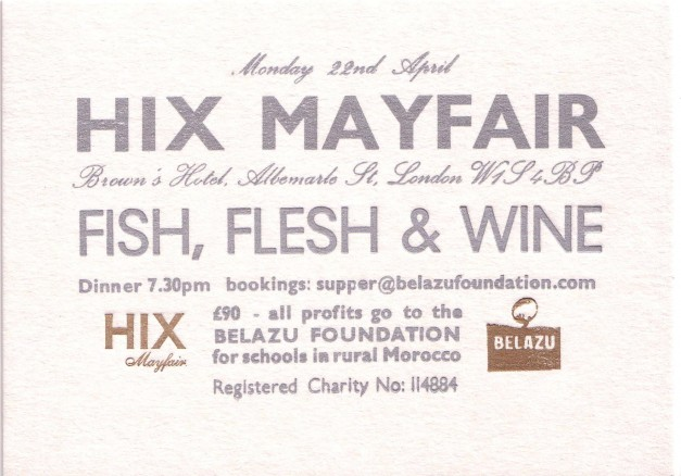 hix Belazu Dinner Invite