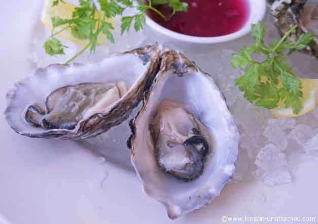 maldon rock oysters at Sam's Brasserie
