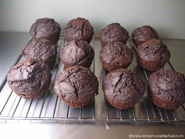 chcolate banana rum muffins