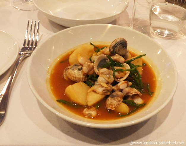 cockes and jersey royals saffron stew