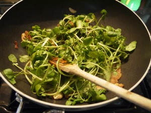 watercress in wok