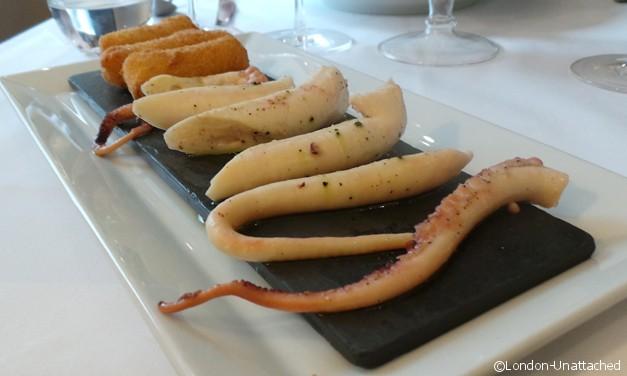 London Unattached at Acciuga - octopus and potatoes