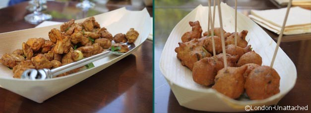 Potli canapes - cashew nut pakora and Mangodi