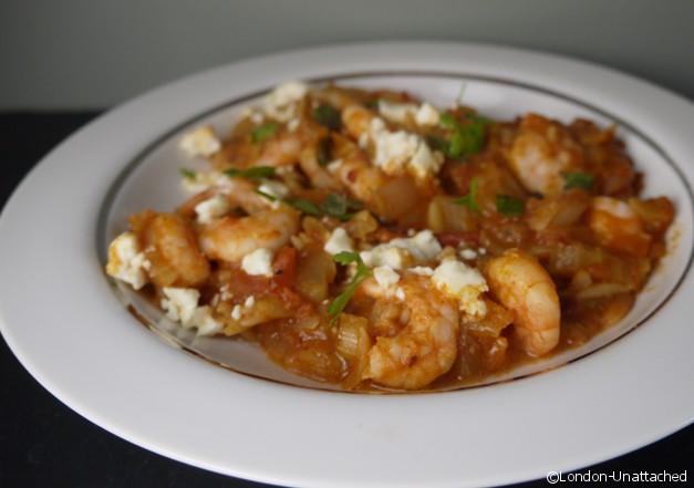 London Unattached: 5:2 Diet Recipe prawns with feta