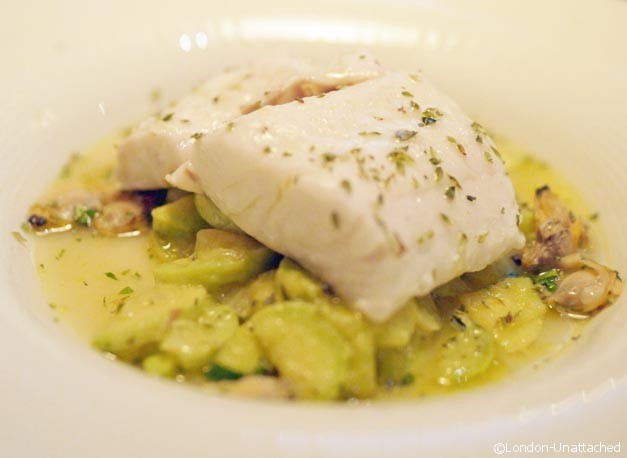 tinello hake with courgettes and shellfish