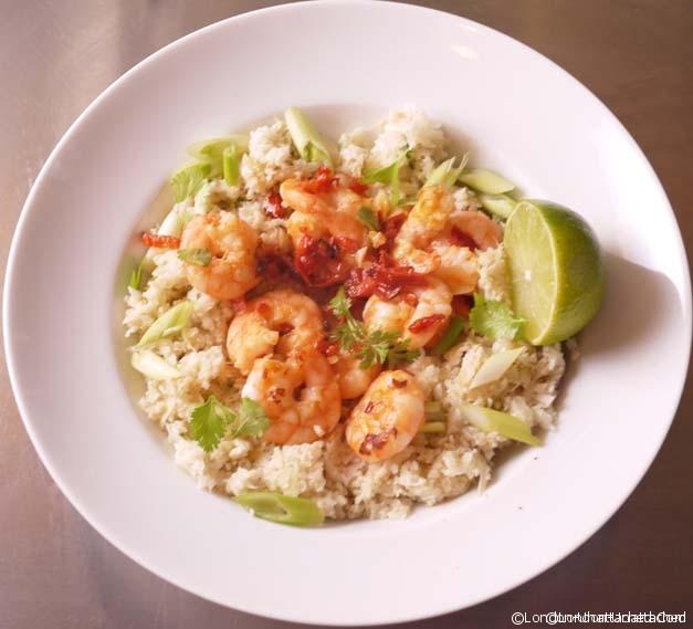 5-2 diet Cauliflower Rice with Garlic Chilli Prawns