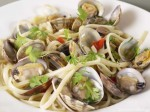 Clams with pasta, chilli and coriander