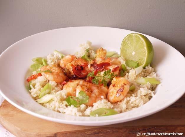 5;2 diet recipe Garlic Chilli Prawns in Coriander Caulflower Rice