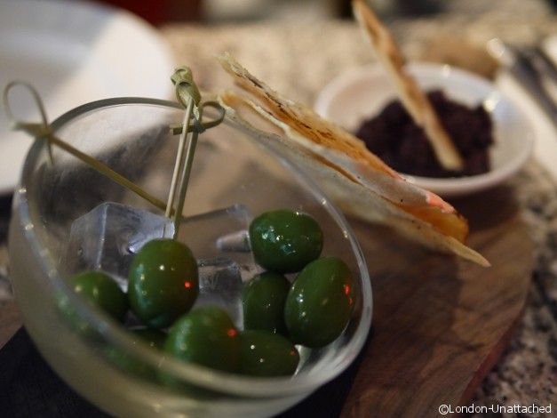 Olives on ice and Tapanade Pontis