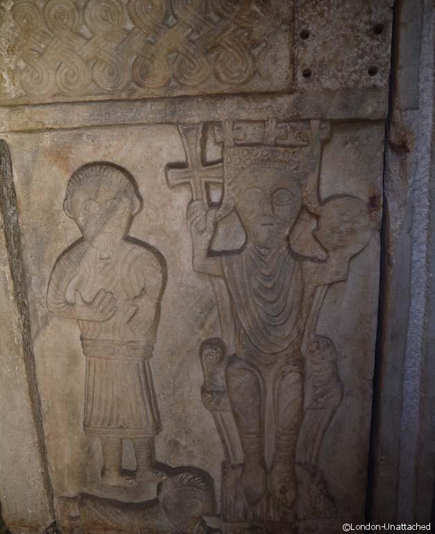 croatian king on baptistry font - split