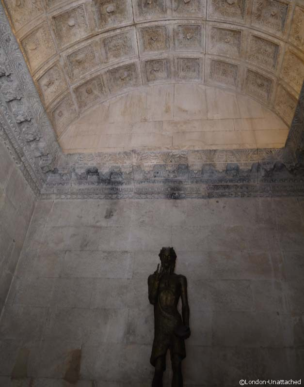 split - baptistry statue and ceiling